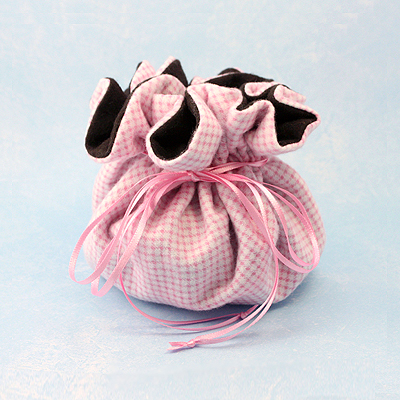 Large Pink Gingham Puff Pouch