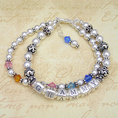 Double strand grandmother bracelet in all sterling silver and birthstone crystals.