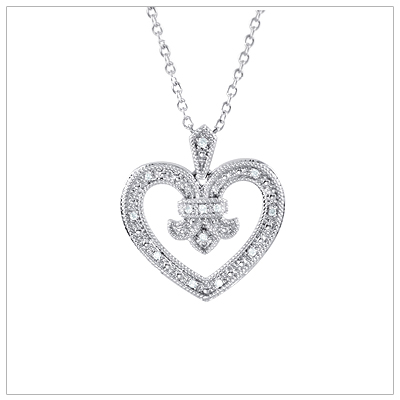 Tuscany inspired diamond heart necklace with 15 diamonds in sterling silver, chain included.