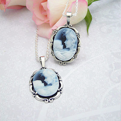 Forever Loved Mothers Necklace with genuine agate cameo of mother and child
