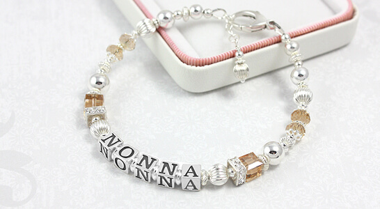 Personalized grandmother bracelet in sterling silver, Swarovski crystal, and sparkling cz.