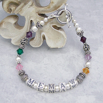 Grandmother bracelet personalized with a name and birthstones of your grandchildren.