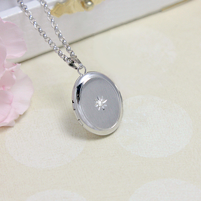 Oval Diamond Locket - 1375