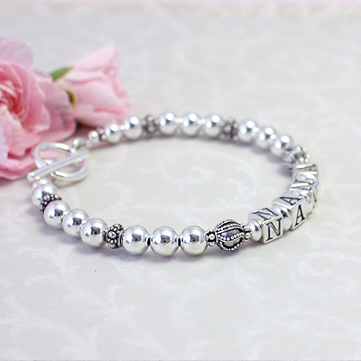 Grandmother bracelet in all sterling silver with elegant designer beads. Beautiful gift for grandma.