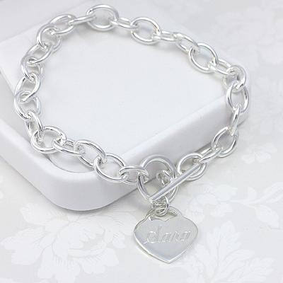 Sterling Heart Charm Bracelets with custom engraved heart charm.
