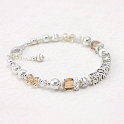 Beautiful grandmother bracelet in sterling, gold crystals, and cubic zirconia for lots of sparkle.