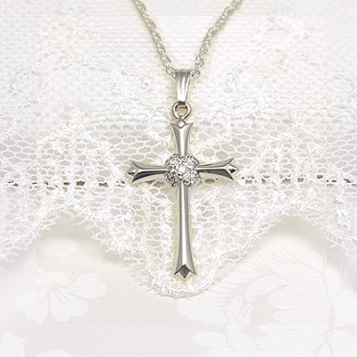 Beautiful diamond Cross necklace wrapped with 2 bands of diamonds in 14kt white gold, heavy rope chain included.