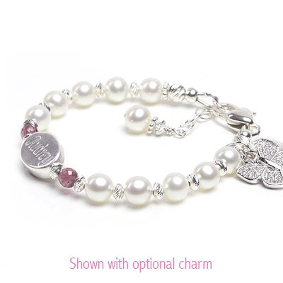 Engraved baby and children's bracelet with cultured pearls and genuine birthstones.