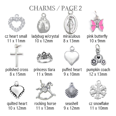 Sterling silver charms to add to baby and children's bracelets; page 2.