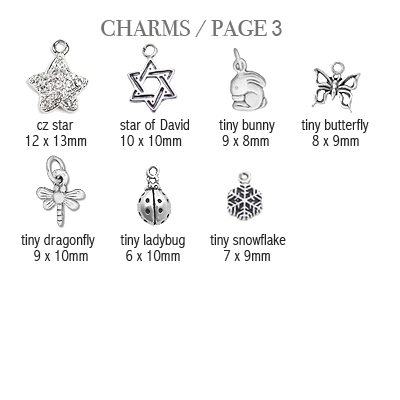 Sterling silver charms to add to baby and children's bracelets; page 3.