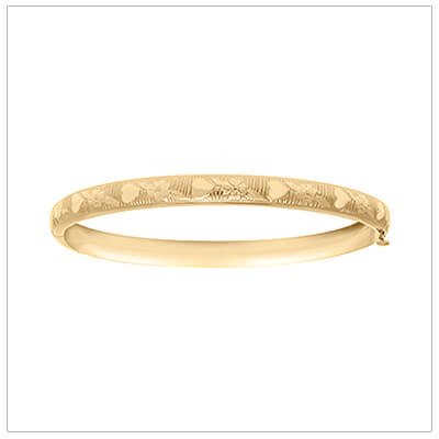 14kt gold filled baby bangle bracelet with an engraved pattern of hearts and flowers. The baby bracelets have a safety hinge closure.