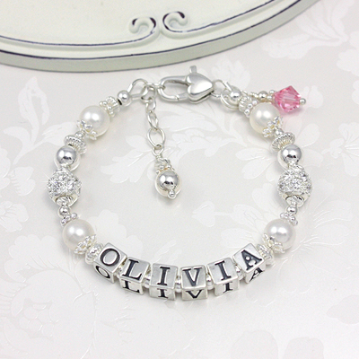 Baby bracelets in cultured pearls and sterling cz  beads that create sparkle.