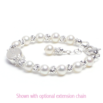 Engraved bracelet for baby and child with cultured pearls and sterling twist beads.