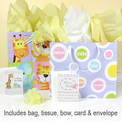 Gift wrapping included with our 3 piece baby shower gift set.