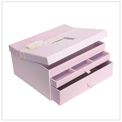 Pearlized pink baby keepsake chest to store memory book, birth certificate, first lock of hair, baby spoon, and more. Baby shower gift for girls.