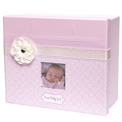 Precious keepsake chest for baby girls. Store all of her special mementos neatly. Baby shower gift for girls.
