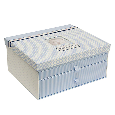 Beautiful new baby gift for boys. A handsome blue designed keepsake chest for storing all his precious mementos of early years.