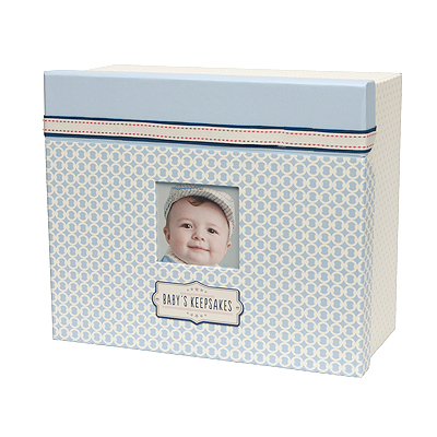 Blue designed keepsake chest for little boys with photo frame in lid. Store memory book, lock of hair, birth certificate and other special mementos neatly. New baby gift.