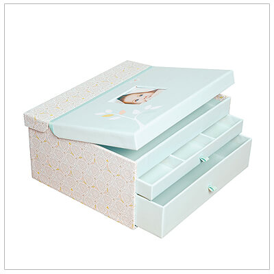 Elegant baby keepsake chest for storing mementos of early years. Top compartment holds memory book, 2 pull out drawers for other special items.