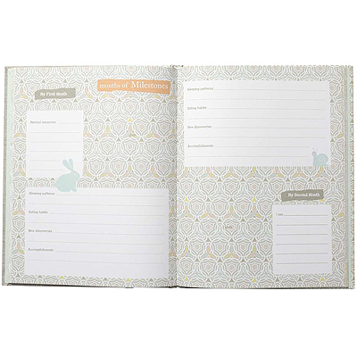 View of inside pages of baby memory book; 68 pages to record milestones, growth, immunizations, and more.