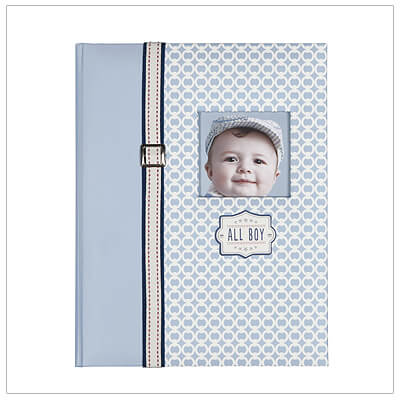 Handsome bound memory book for little boys; padded front with customizable picture window. 68 pages to record babys milestones for his first 5 years.