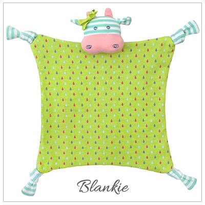Adorable baby blankie in our Belle the Cow design. 100% organic cotton baby gift.