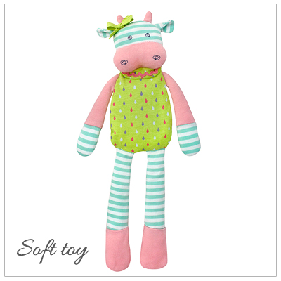Baby gift in 100% organic cotton. Our Belle the Cow soft toy is filled with hypoallergenic corn fiber filler.