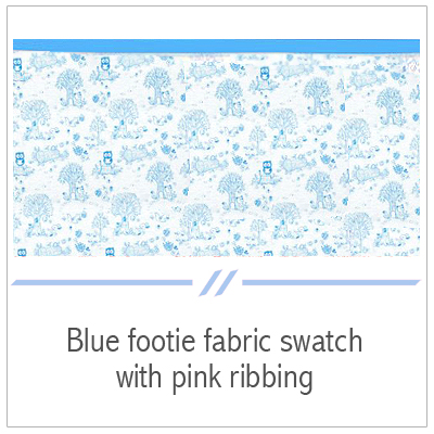 Blue footie fabric swatch.
