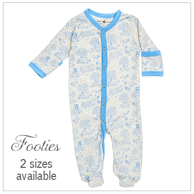 100% organic cotton baby footies with a storybook pattern in blue.