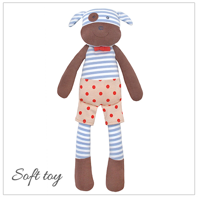 Baby gift in 100% organic cotton. Our Boxer the Dog soft toy is filled with hypoallergenic corn fiber filler and is perfect for baby boys.
