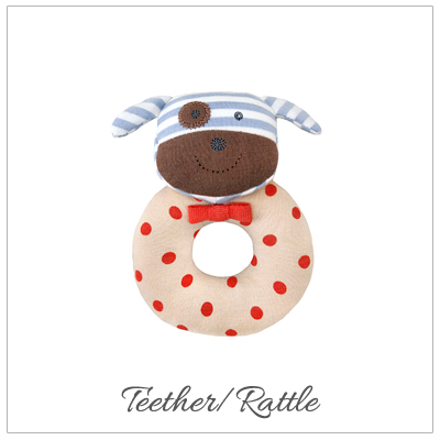 Baby teether with a rattle in our Boxer the Dog design. Our baby shower gift is 100% organic cotton.