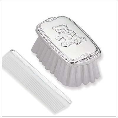 Adorable pewter brush and comb set for baby boys with a teddy bear motif. Fine quality American made baby gift.