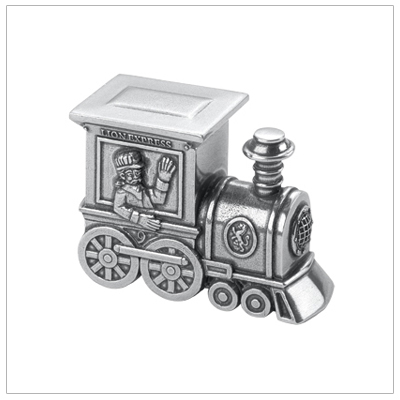 Baby gift; boys miniature train tooth fairy box finely crafted in pewter. Removable top with small compartment.