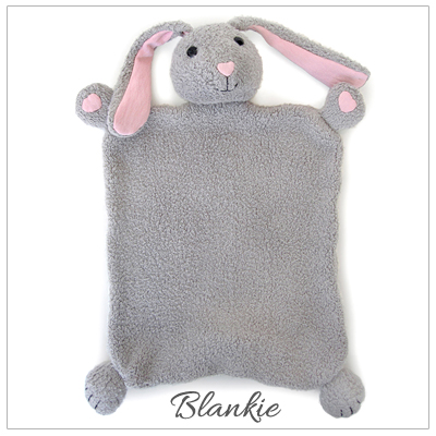 Bunny 100% organic cotton plush blankie for babies. Snuggly blankie part of baby gift set.