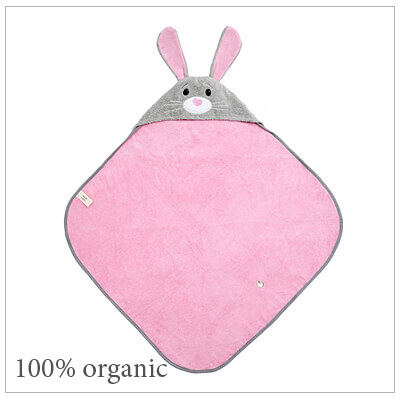 Baby hooded bath towel in a bunny design. Our cubby hooded towel is 100% organic, soft cotton terry with embroidered features.