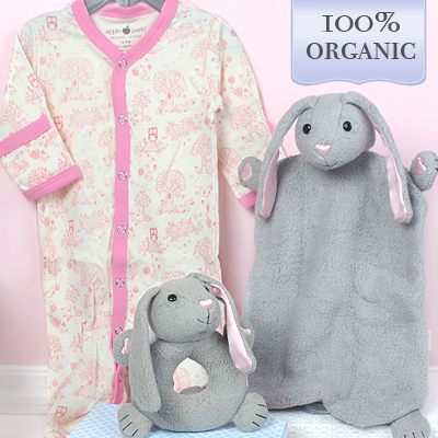 Baby shower gift that includes a bunny blankie, bunny teether, and pink footies. All items in our gift set are 100% organic.