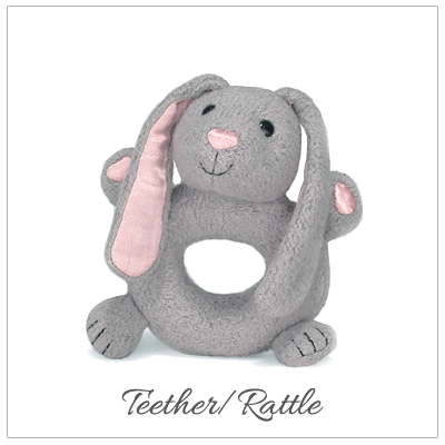 Bunny baby teether with rattle made of 100% organic cotton plush.