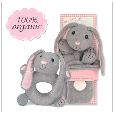 Two piece baby shower gift set. All items in the set are 100% organic. Includes Bunny blankie and matching teether rattle.