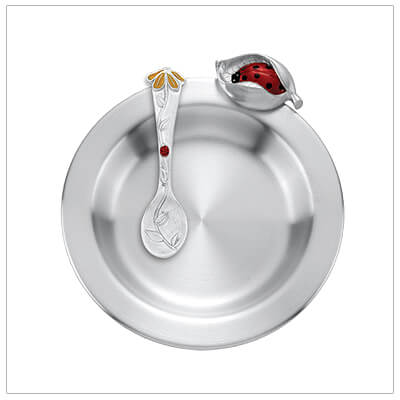 Fine pewter ladybug feeding dish and matching spoon make beautiful baby gifts and Baptism gifts.