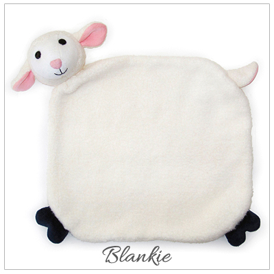 Lamby 100% organic cotton plush blankie for babies. Snuggly blankie part of baby gift set.