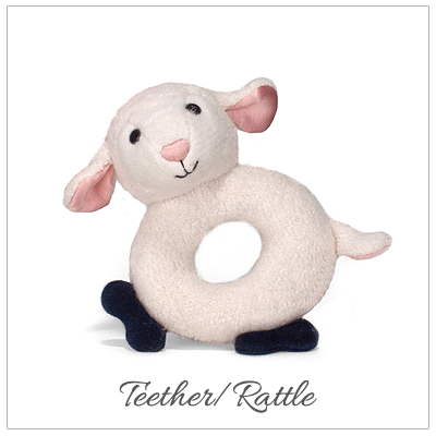 Lamb baby teether with rattle made of 100% organic cotton plush.