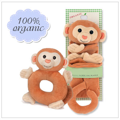 Two piece baby shower gift set. All items in the set are 100% organic and hypoallergenic. Includes monkey blankie and matching teether rattle.