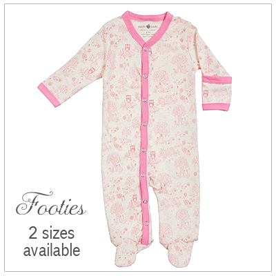 100% organic cotton baby footies with a storybook pattern in pink.