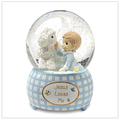 Precious Moments musical water globe baby gift for little boys. Tune played is Jesus Loves Me. Baby dedication gift.
