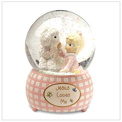 Precious Moments musical water globe baby gift for girls. Tune played is Jesus Loves Me. Baby dedication gift.