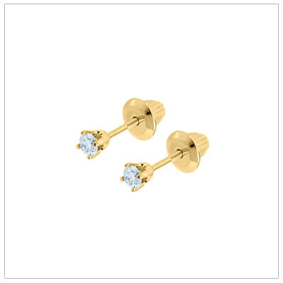 14kt gold diamond solitaire earrings for babies and toddlers with screw backs.