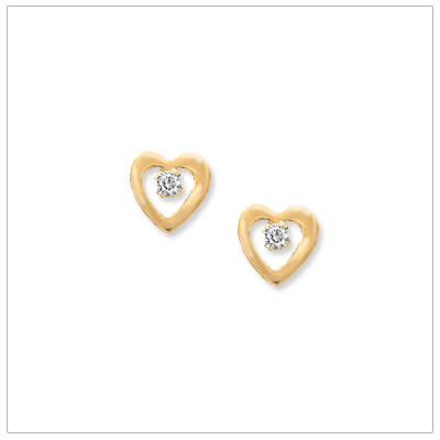 14kt gold open heart earrings set with genuine diamonds for babies and children; screw back earrings.