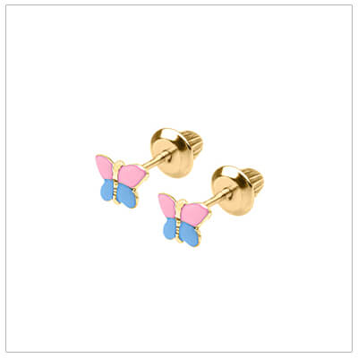 14kt pink and blue butterfly earrings for babies and toddlers; screw back earrings.
