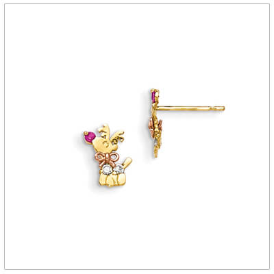 Adorable 14kt reindeer earrings with rose gold and tiny cz for babies and children.