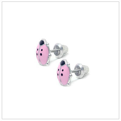 Screw back earrings for babies and children with pink ladybugs. Our ladybug earrings are sterling silver.